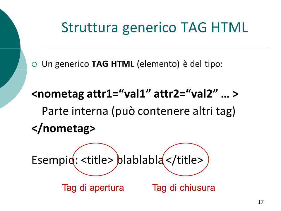 Struttura generico TAG HTML Un generico TAG HTML (elemento) è del tipo: Parte interna (può contenere altri tag) Esempio: blablabla 17 Tag di aperturaT