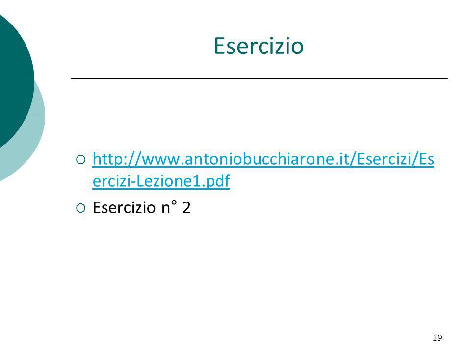 Esercizio http://www.antoniobucchiarone.it/Esercizi/Es ercizi-Lezione1.pdf http://www.antoniobucchiarone.it/Esercizi/Es ercizi-Lezione1.pdf Esercizio