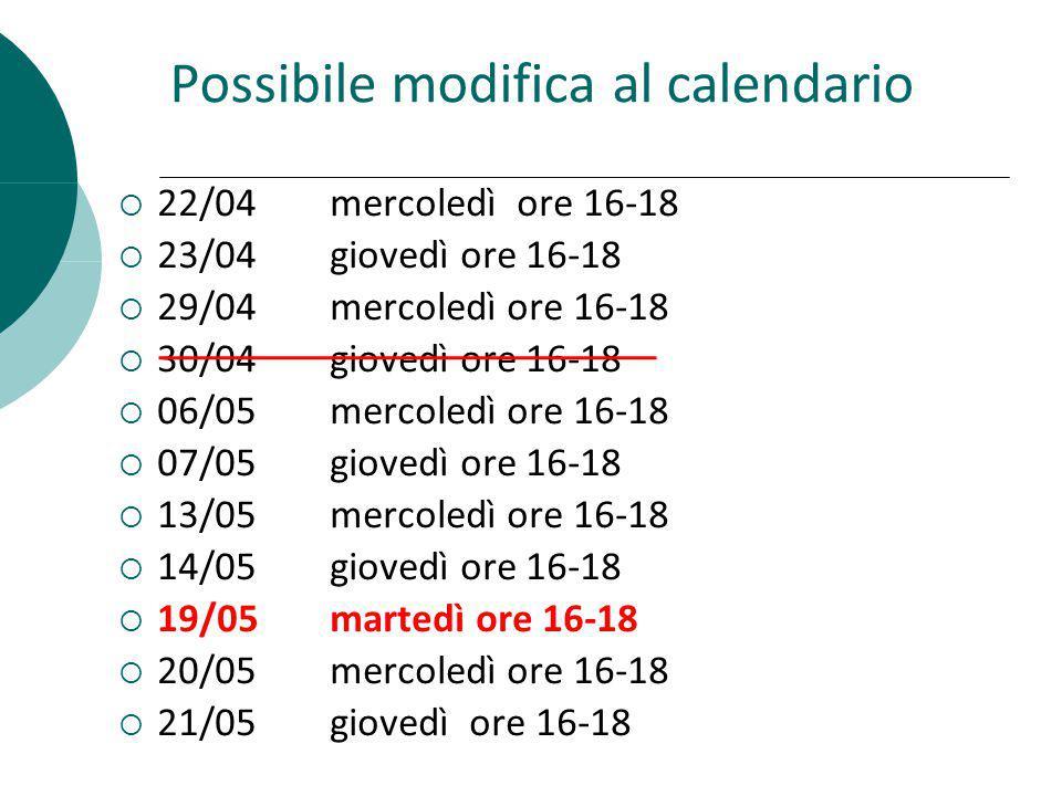 Possibile modifica al calendario 22/04mercoledì ore 16-18 23/04giovedì ore 16-18 29/04mercoledì ore 16-18 30/04giovedì ore 16-18 06/05mercoledì ore 16