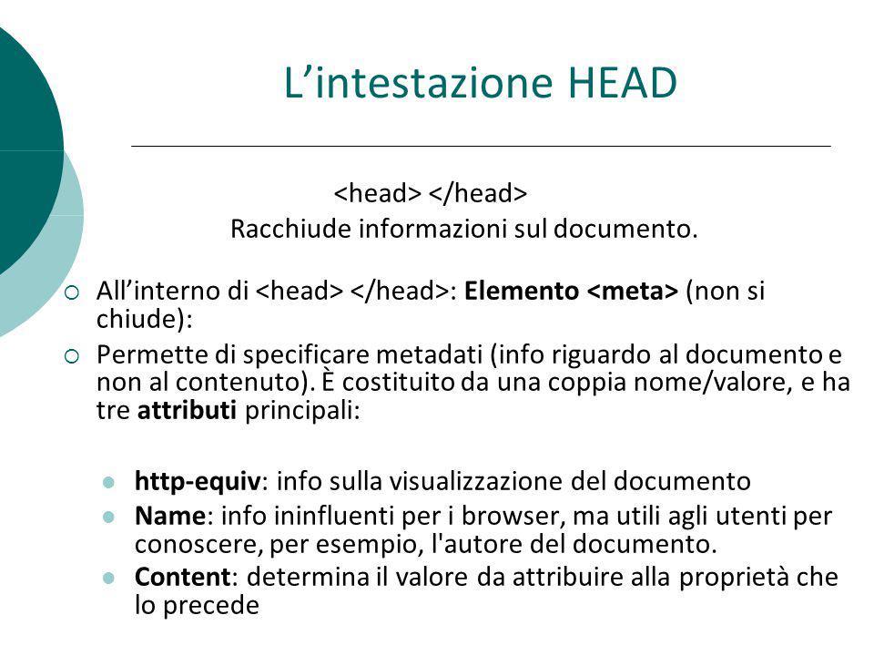 Lintestazione HEAD Racchiude informazioni sul documento. Allinterno di : Elemento (non si chiude): Permette di specificare metadati (info riguardo al