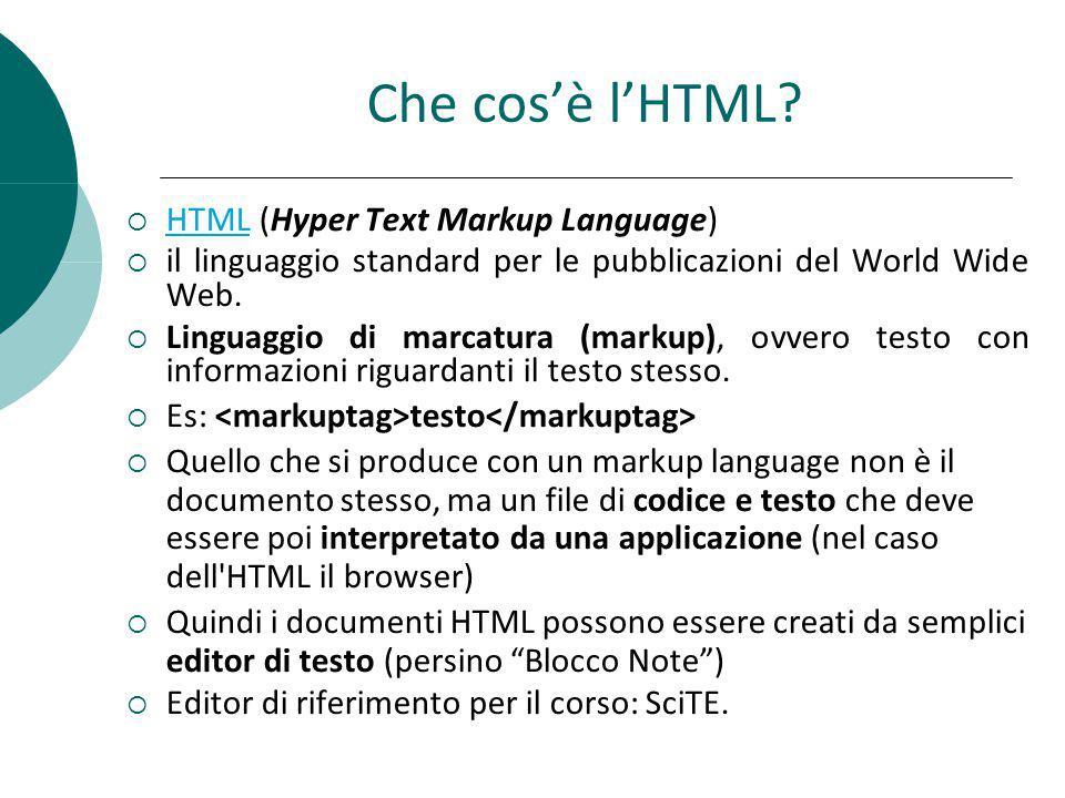 Che cosè lHTML? HTML (Hyper Text Markup Language) HTML il linguaggio standard per le pubblicazioni del World Wide Web. Linguaggio di marcatura (markup