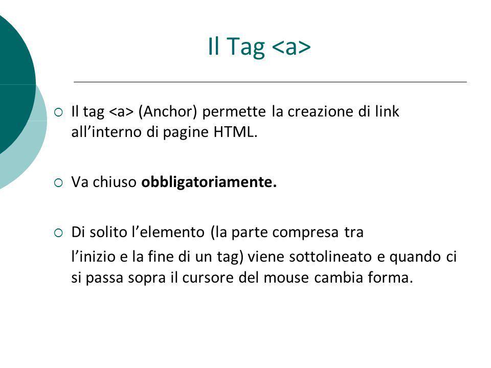 Il Tag Il tag (Anchor) permette la creazione di link allinterno di pagine HTML. Va chiuso obbligatoriamente. Di solito lelemento (la parte compresa tr