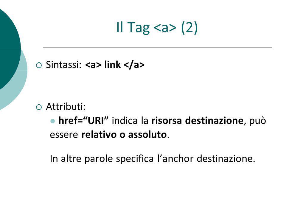 Il Tag (2) Sintassi: link Attributi: href=URI indica la risorsa destinazione, può essere relativo o assoluto. In altre parole specifica lanchor destin