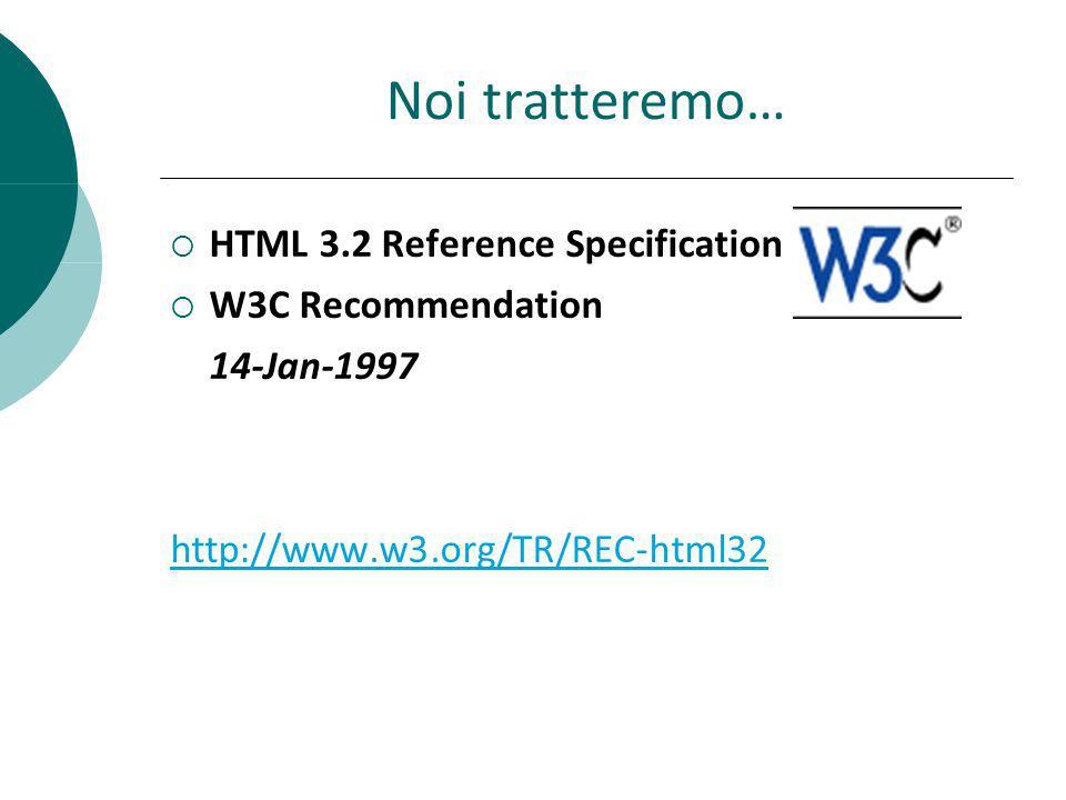Struttura Documento HTML Un documento HTML è costituito da tre parti: 1.