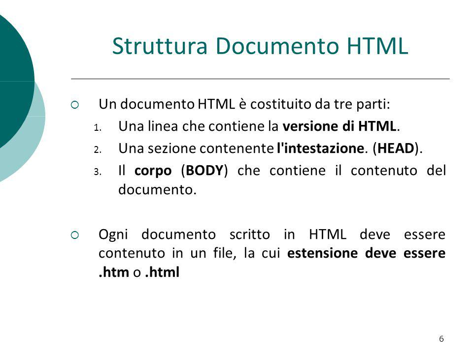 Struttura generico TAG HTML Un generico TAG HTML (elemento) è del tipo: Parte interna (può contenere altri tag) Esempio: blablabla 17 Tag di aperturaTag di chiusura