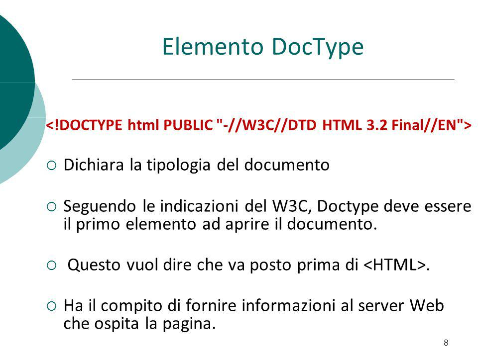 Elemento DocType HTML PUBLIC: il documento è pubblico DTD HTML 3.2: (document type definition) la versione di HTML supportata è la 3.2 EN: la lingua del documento è l inglese L uso di DOCTYPE non è obbligatorio e può essere omesso.