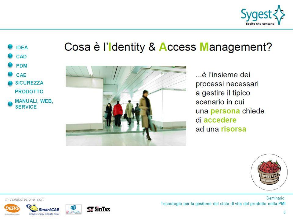 Seminario: Tecnologie per la gestione del ciclo di vita del prodotto nella PMI 6 In collaborazione con: IDEA CAD PDM CAE SICUREZZA PRODOTTO MANUALI, WEB, SERVICE