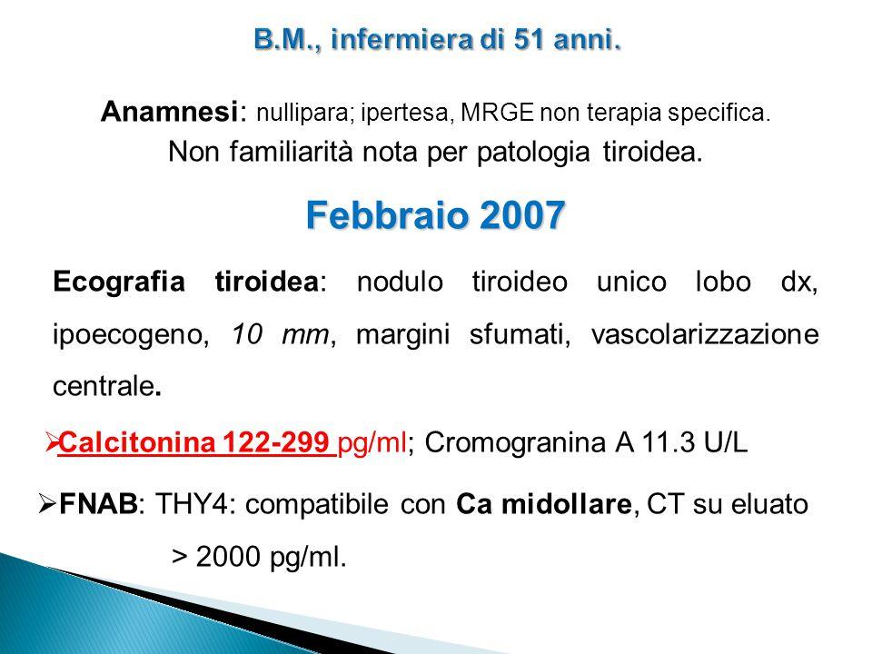 Anamnesi: nullipara; ipertesa, MRGE non terapia specifica. Non familiarità nota per patologia tiroidea. Febbraio 2007 Ecografia tiroidea: nodulo tiroi