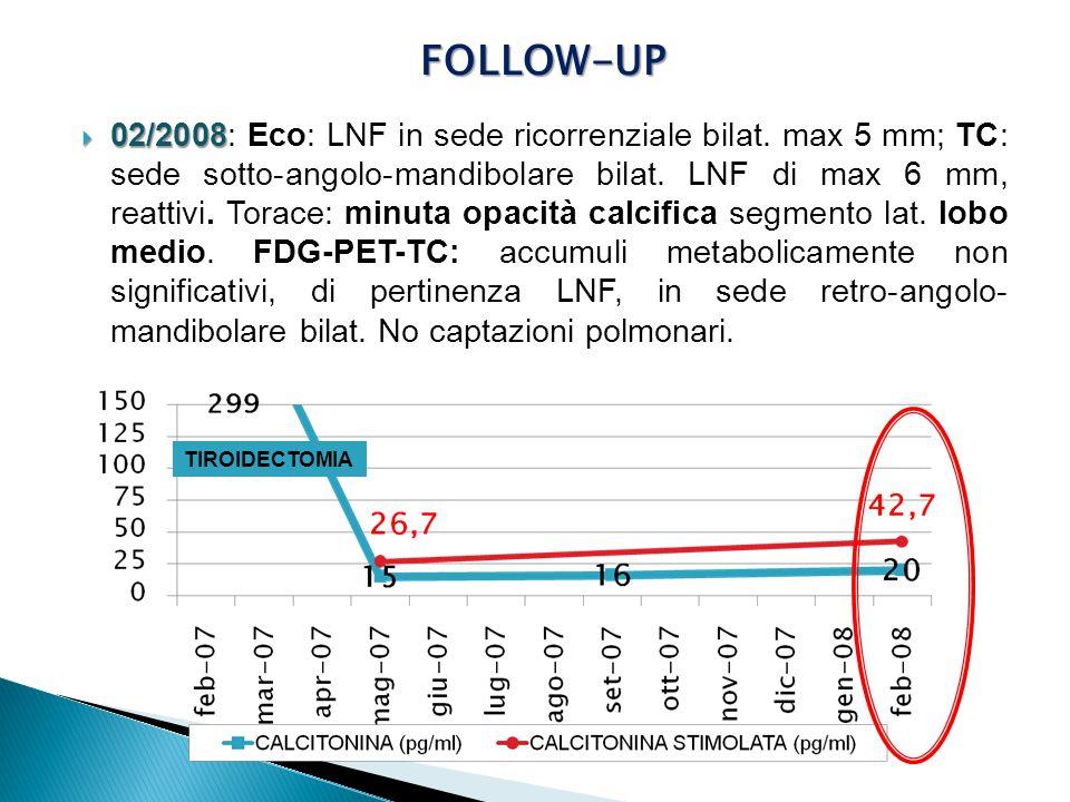 02/2008 02/2008: Eco: LNF in sede ricorrenziale bilat. max 5 mm; TC: sede sotto-angolo-mandibolare bilat. LNF di max 6 mm, reattivi. Torace: minuta op
