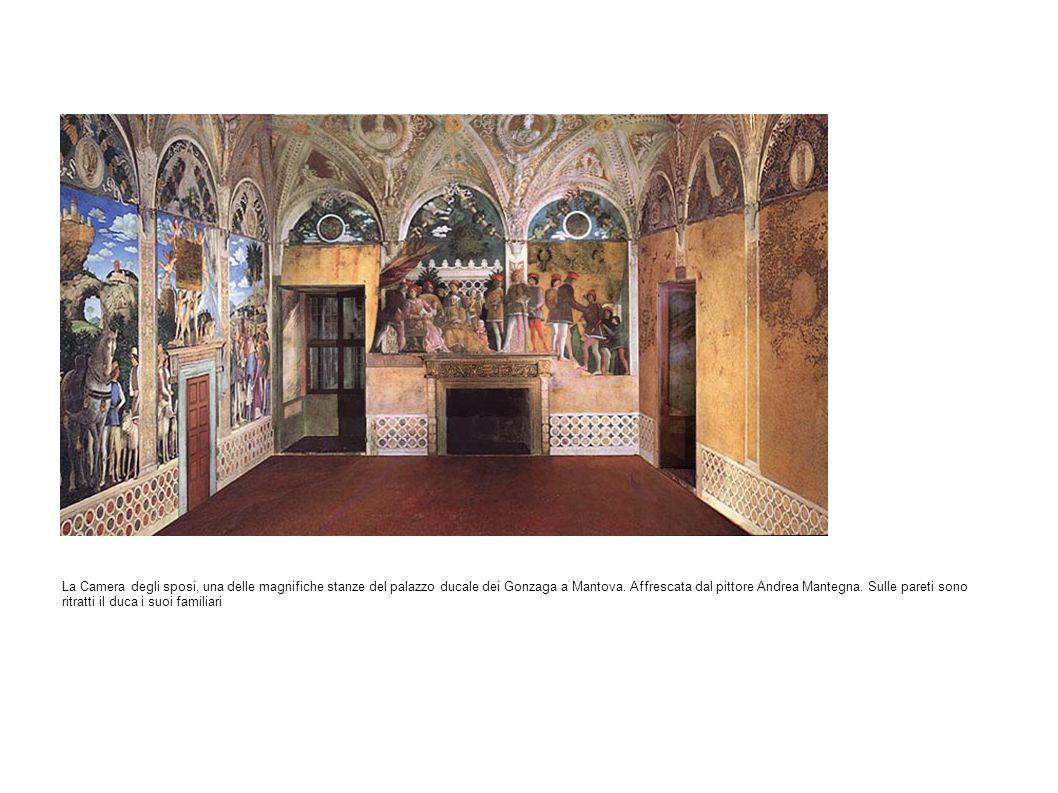 La Camera degli sposi, una delle magnifiche stanze del palazzo ducale dei Gonzaga a Mantova. Affrescata dal pittore Andrea Mantegna. Sulle pareti sono