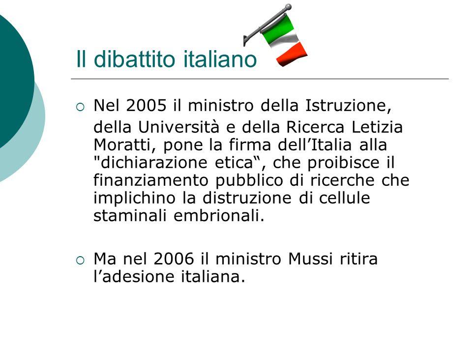 Il dibattito italiano Nel 2005 il ministro della Istruzione, della Università e della Ricerca Letizia Moratti, pone la firma dellItalia alla