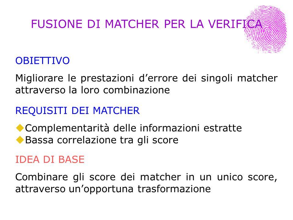 OBIETTIVO Migliorare le prestazioni derrore dei singoli matcher attraverso la loro combinazione IDEA DI BASE Combinare gli score dei matcher in un uni