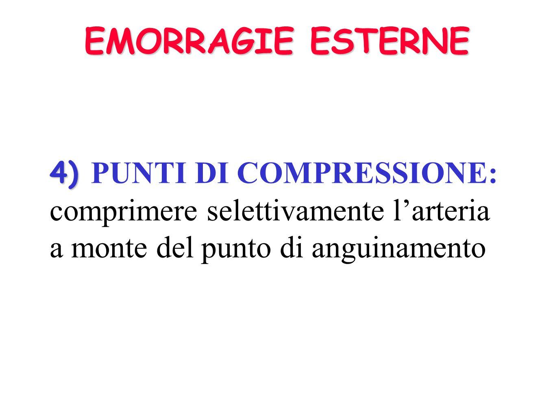TECNICHE DI EMOSTASI 2. BENDAGGIO COMPRESSIVO 2. BENDAGGIO COMPRESSIVO : garza arrotolata e compressa con un bendaggio, senza fermare la circolazione
