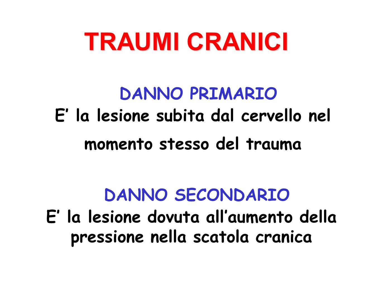 Commozione cerebrale Contusione cerebrale Ematomi (subdurale, epidurale) TRAUMI CRANICI Lesioni interne