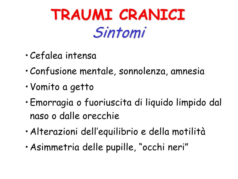 DANNO PRIMARIO E la lesione subita dal cervello nel momento stesso del trauma DANNO SECONDARIO E la lesione dovuta allaumento della pressione nella sc