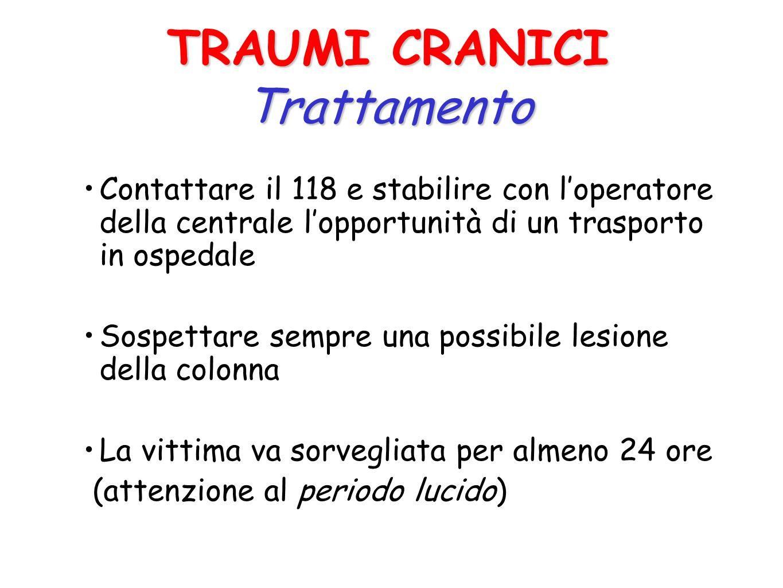 Levoluzione di un trauma cranico, anche modesto, può essere l arresto respiratorio per compressione dei centri bulbari I traumi cranici