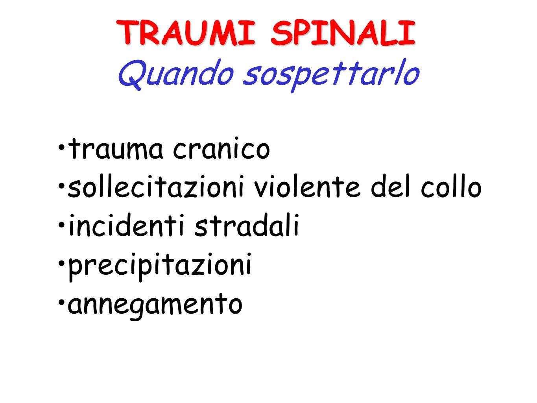 Colonna vertebrale Midollo spinale Lesioni midollari con deficit della sensibilità o/e dei movimenti Fratture Lussazioni Distorsioni Lesioni dei disch