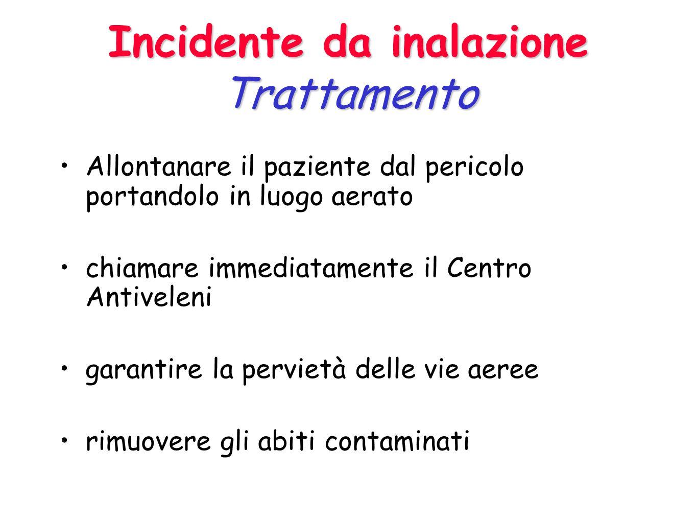 Incidente da ingestione Trattamento Controllare le funzioni vitali e, se necessario, sostenerle raccogliere informazioni sul prodotto ingerito chiamar