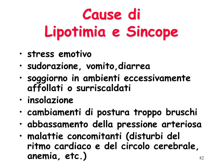 LIPOTIMIA (Insieme di sintomi che possono precedere la sincope): malessere passeggero con ronzii auricolari, pallore, nausea, parestesie, bradicardia,