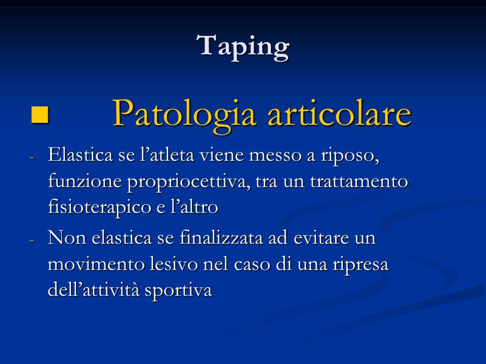 Taping Patologia articolare Patologia articolare - Elastica se latleta viene messo a riposo, funzione propriocettiva, tra un trattamento fisioterapico