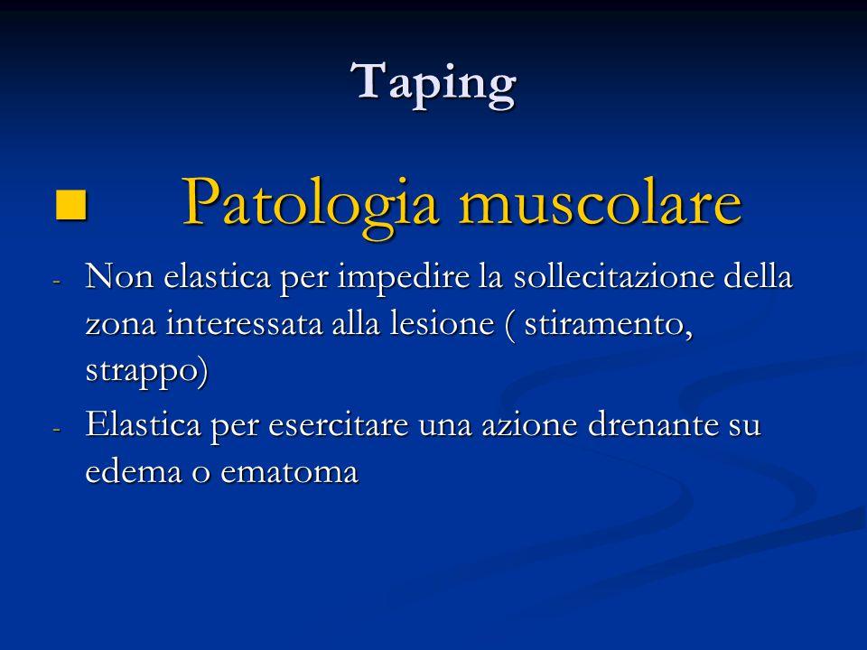 Taping Patologia muscolare Patologia muscolare - Non elastica per impedire la sollecitazione della zona interessata alla lesione ( stiramento, strappo