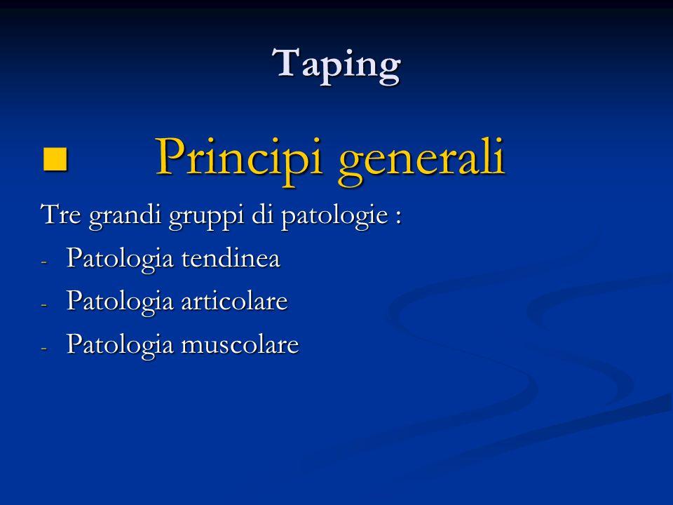 Taping Patologia tendinea Patologia tendinea - Elastica, non elastica o mista - Posizione il tendine in lieve accorciamento - Permette una relativa messa a riposo - Creare un richiamo dello stiramento del tendine
