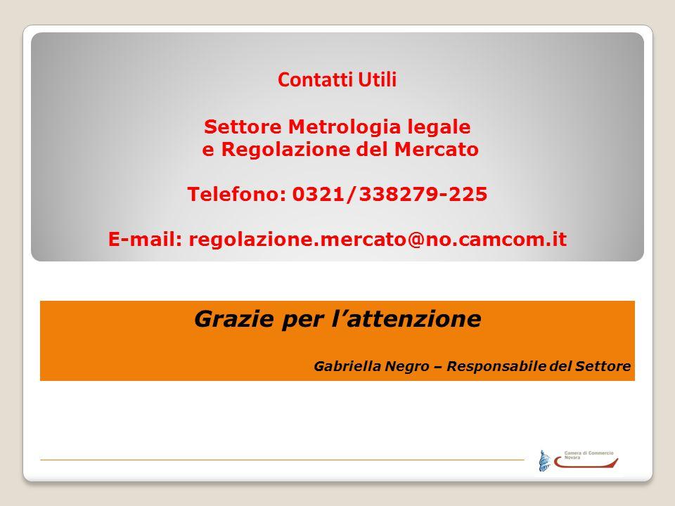 Contatti Utili Settore Metrologia legale e Regolazione del Mercato Telefono: 0321/338279-225 E-mail: regolazione.mercato@no.camcom.it Grazie per latte