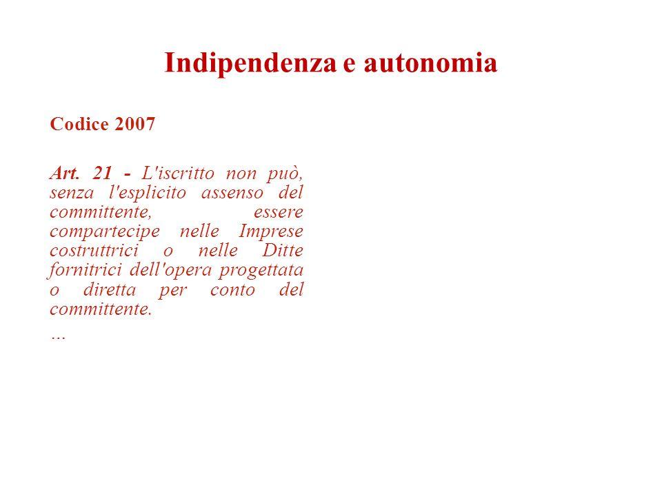 Codice 2007 Art. 21 - L'iscritto non può, senza l'esplicito assenso del committente, essere compartecipe nelle Imprese costruttrici o nelle Ditte forn