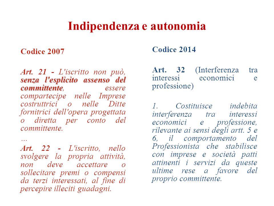 Indipendenza e autonomia Codice 2007 senza l'esplicito assenso del committente Art. 21 - L'iscritto non può, senza l'esplicito assenso del committente