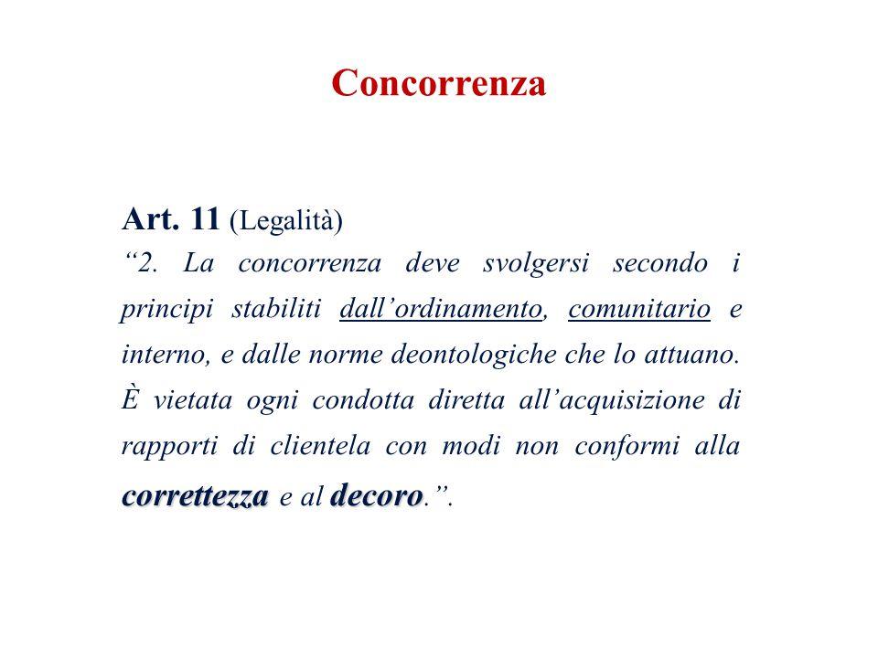 Art. 11 (Legalità) correttezzadecoro 2. La concorrenza deve svolgersi secondo i principi stabiliti dallordinamento, comunitario e interno, e dalle nor