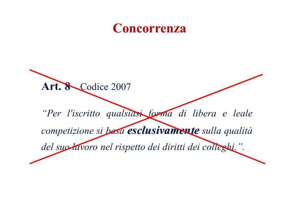 Art. 8 Codice 2007 esclusivamente Per l'iscritto qualsiasi forma di libera e leale competizione si basa esclusivamente sulla qualità del suo lavoro ne
