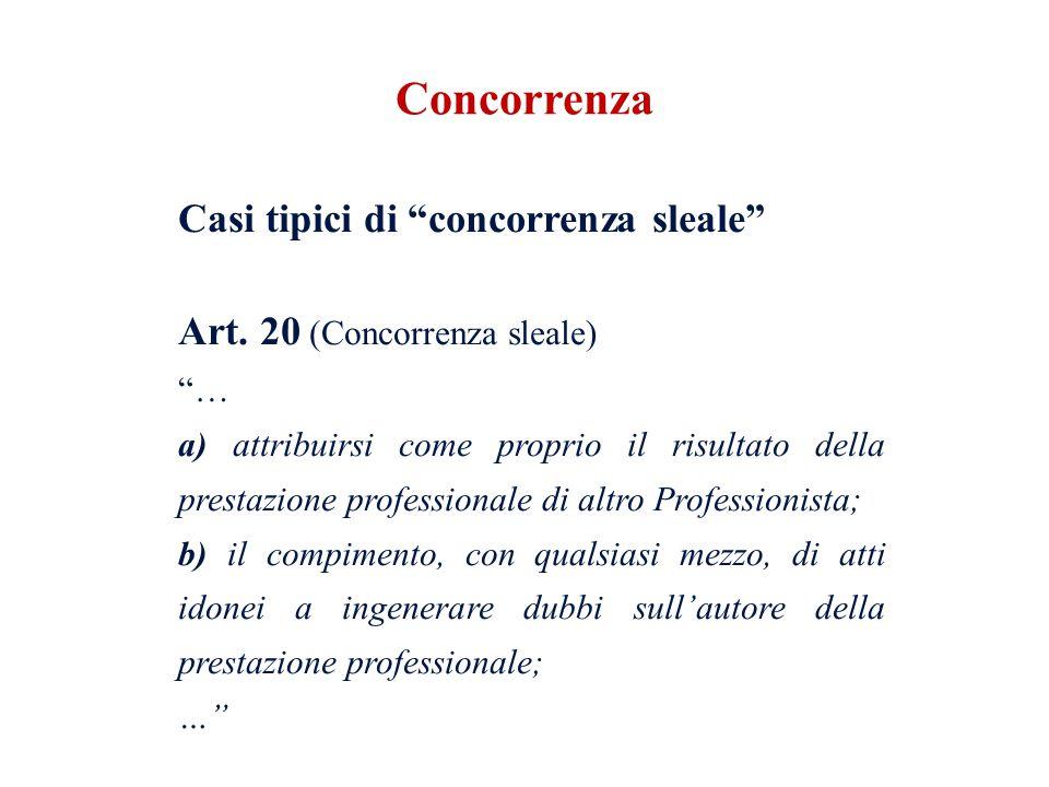 Casi tipici di concorrenza sleale Art. 20 (Concorrenza sleale) … a) attribuirsi come proprio il risultato della prestazione professionale di altro Pro