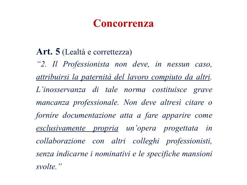 Art.5 (Lealtà e correttezza) 2.
