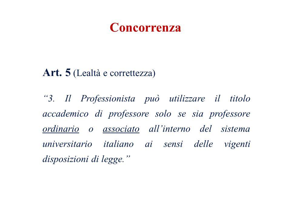 Art. 5 (Lealtà e correttezza) 3. Il Professionista può utilizzare il titolo accademico di professore solo se sia professore ordinario o associato alli