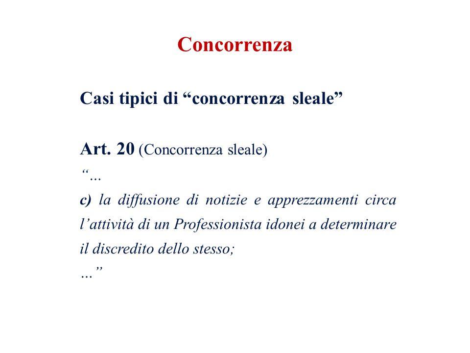 Casi tipici di concorrenza sleale Art. 20 (Concorrenza sleale) … c) la diffusione di notizie e apprezzamenti circa lattività di un Professionista idon
