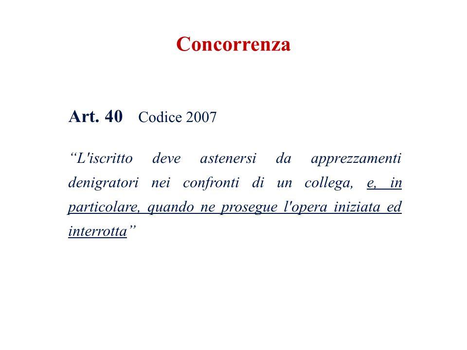 Art. 40 Codice 2007 L'iscritto deve astenersi da apprezzamenti denigratori nei confronti di un collega, e, in particolare, quando ne prosegue l'opera