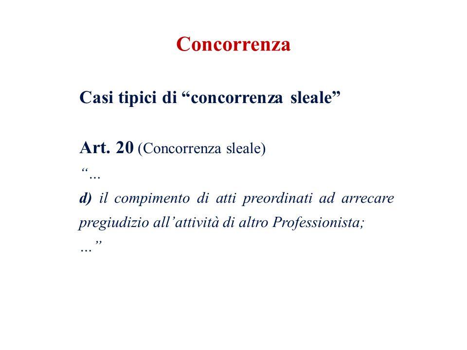 Casi tipici di concorrenza sleale Art. 20 (Concorrenza sleale) … d) il compimento di atti preordinati ad arrecare pregiudizio allattività di altro Pro