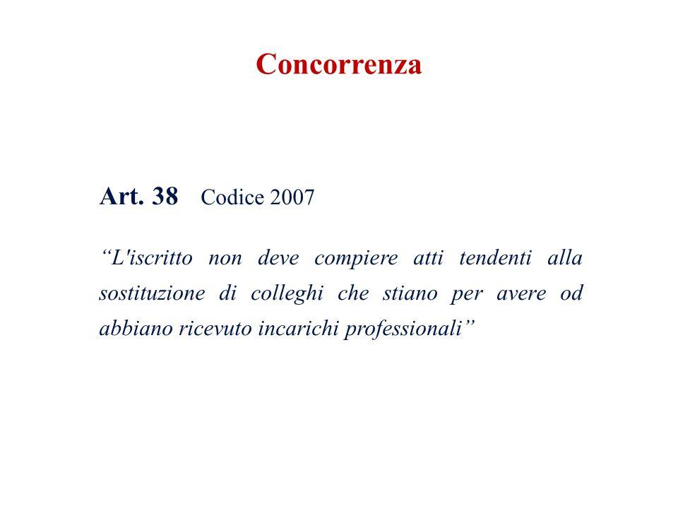 Art. 38 Codice 2007 L'iscritto non deve compiere atti tendenti alla sostituzione di colleghi che stiano per avere od abbiano ricevuto incarichi profes