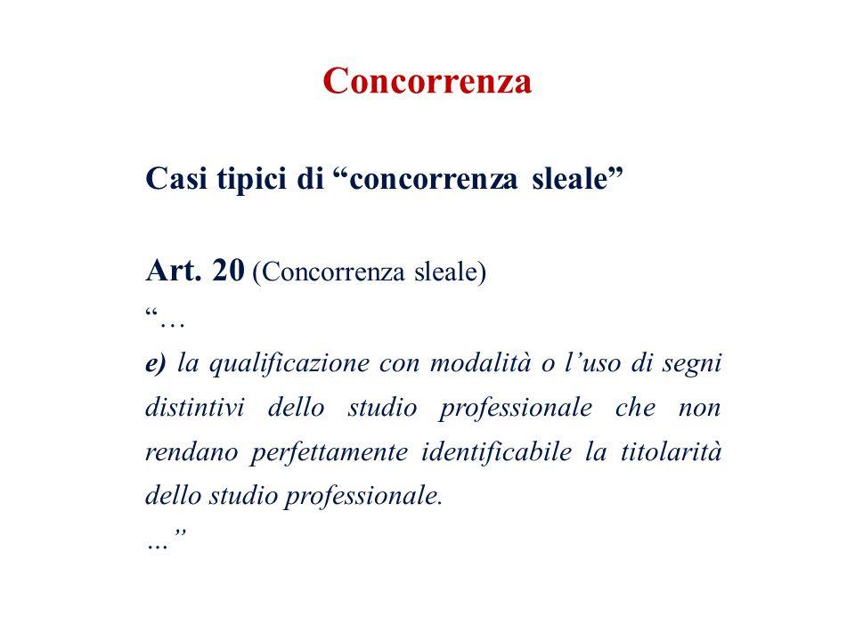 Casi tipici di concorrenza sleale Art. 20 (Concorrenza sleale) … e) la qualificazione con modalità o luso di segni distintivi dello studio professiona