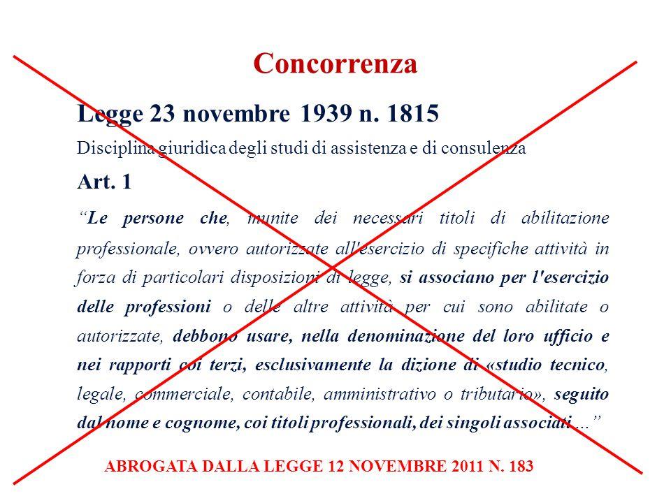 Legge 23 novembre 1939 n. 1815 Disciplina giuridica degli studi di assistenza e di consulenza Art. 1 Le persone che, munite dei necessari titoli di ab