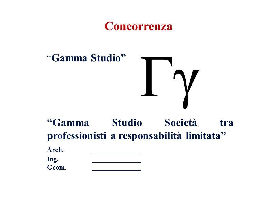 Gamma Studio Gamma Studio Società tra professionisti a responsabilità limitata Arch.______________ Ing. ______________ Geom. ______________ Concorrenz