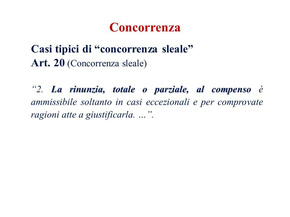 Casi tipici di concorrenza sleale Art. 20 (Concorrenza sleale) La rinunzia, totale o parziale, al compenso 2. La rinunzia, totale o parziale, al compe