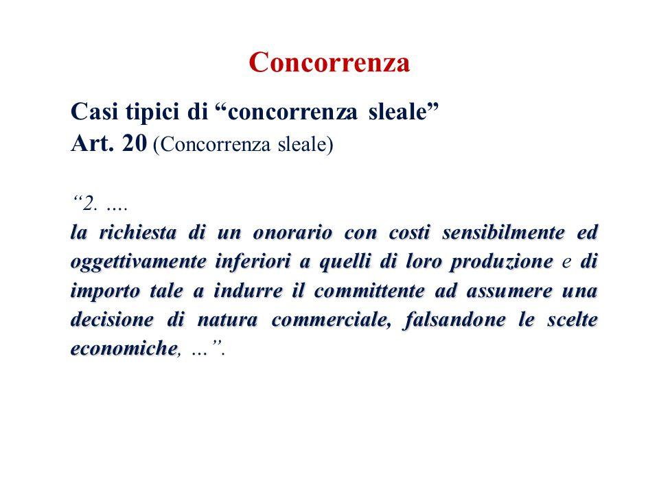 Casi tipici di concorrenza sleale Art. 20 (Concorrenza sleale) 2. …. la richiesta di un onorario con costi sensibilmente ed oggettivamente inferiori a