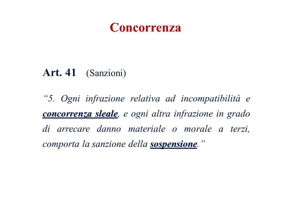 Art. 41 (Sanzioni) concorrenza sleale sospensione 5. Ogni infrazione relativa ad incompatibilità e concorrenza sleale, e ogni altra infrazione in grad