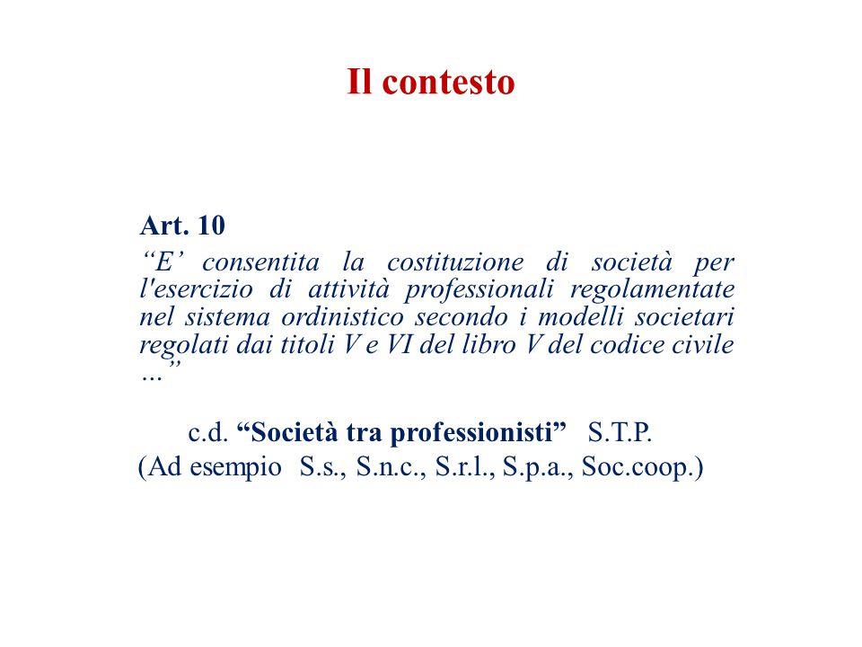 Art. 10 E consentita la costituzione di società per l'esercizio di attività professionali regolamentate nel sistema ordinistico secondo i modelli soci