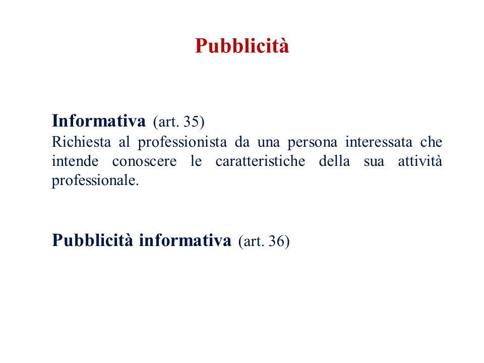 Informativa (art. 35) Richiesta al professionista da una persona interessata che intende conoscere le caratteristiche della sua attività professionale
