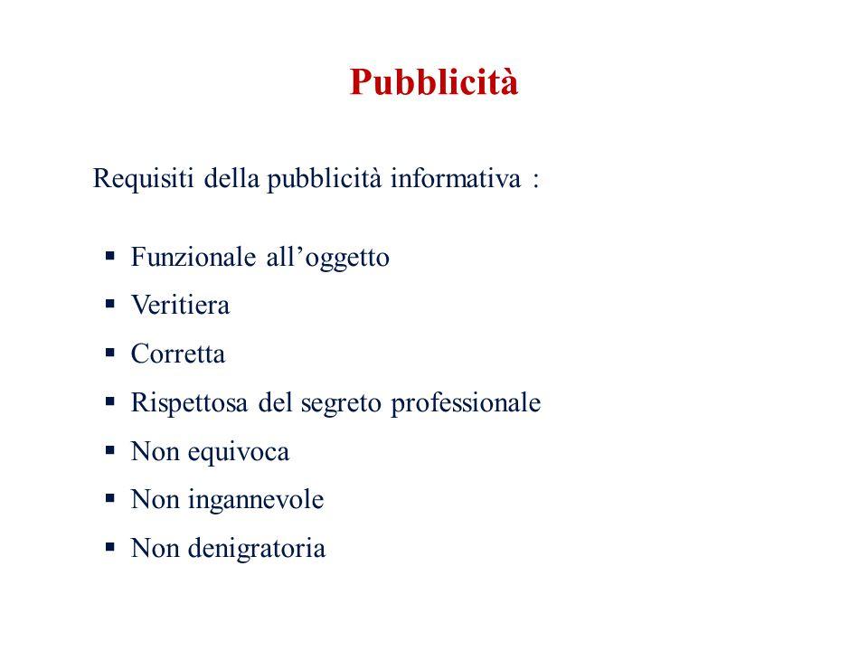 Requisiti della pubblicità informativa : Funzionale alloggetto Veritiera Corretta Rispettosa del segreto professionale Non equivoca Non ingannevole Non denigratoria Pubblicità