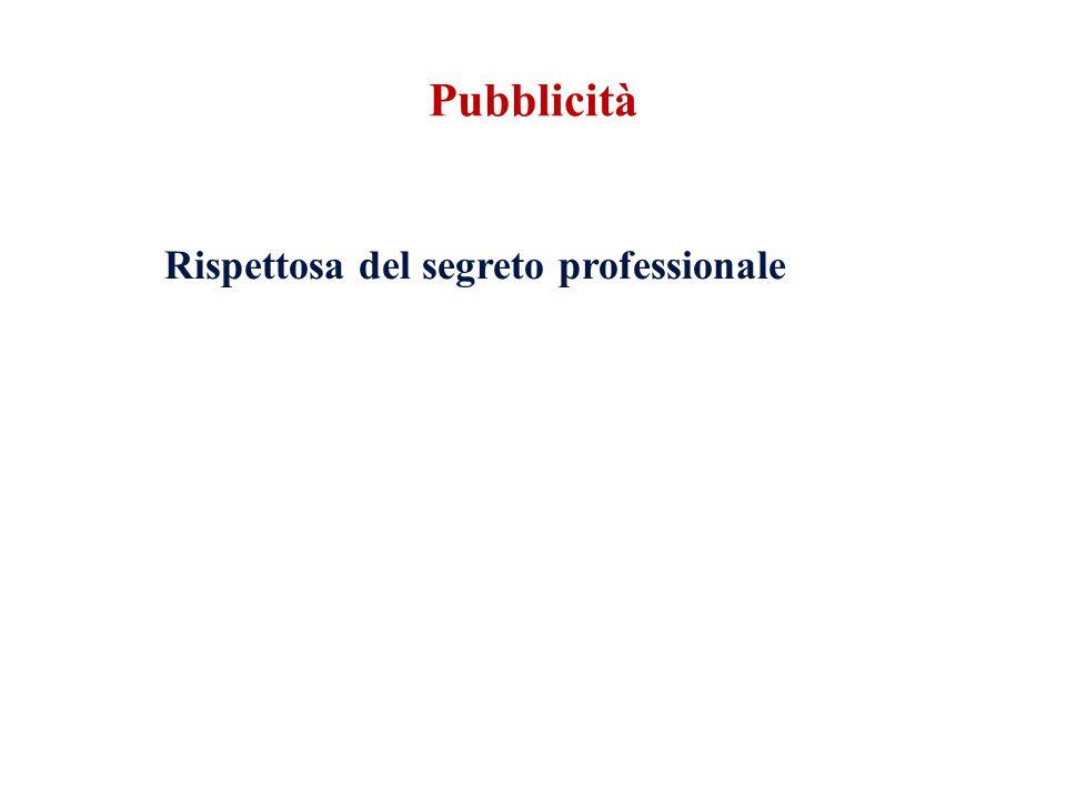 Rispettosa del segreto professionale Pubblicità