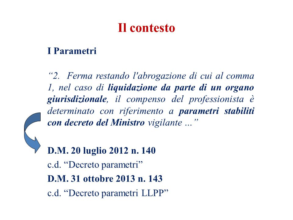 I Parametri 2. Ferma restando l'abrogazione di cui al comma 1, nel caso di liquidazione da parte di un organo giurisdizionale, il compenso del profess