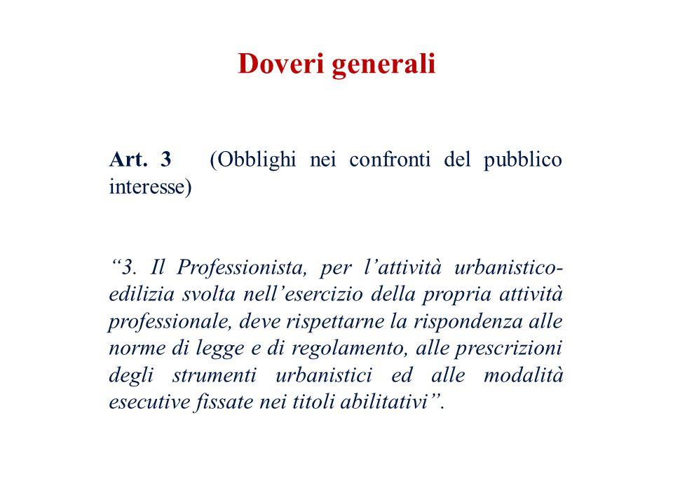 Art. 3 (Obblighi nei confronti del pubblico interesse) 3. Il Professionista, per lattività urbanistico- edilizia svolta nellesercizio della propria at
